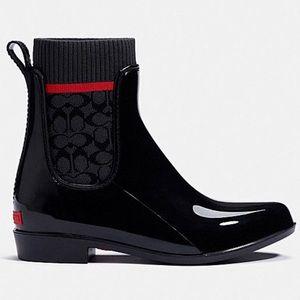 COACH Rain Bootie Signature Knit Black